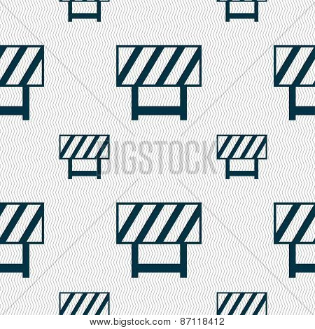 Road Barrier Icon Sign. Seamless Pattern With Geometric Texture. Vector