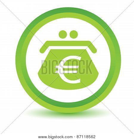 Green euro purse icon
