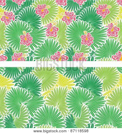 Set Of Seamless Patterns With Palm Trees Leaves  And  Frangipani Flowers.