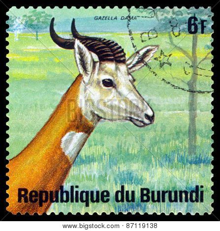 Vintage  Postage Stamp. Dama Gazelle. Animals Burundi.