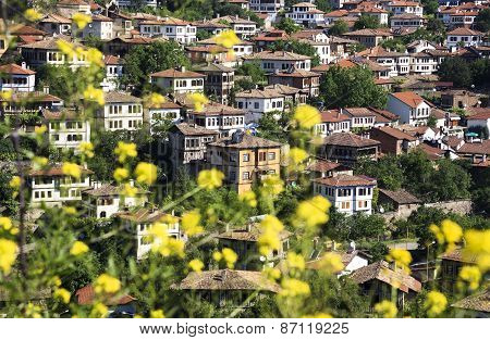 Old Ottoman Houses view behind yellow flowers in spring In Safranbolu, Karabuk, Turkey