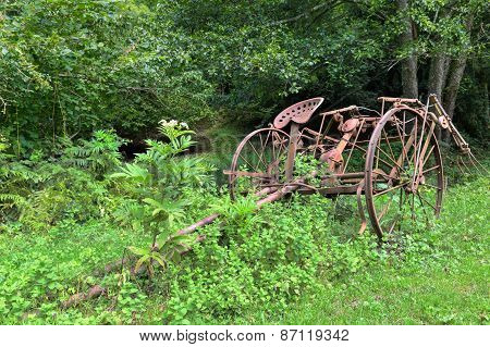 Old Rusty Overgrown Horse Drawn Hay Tedder