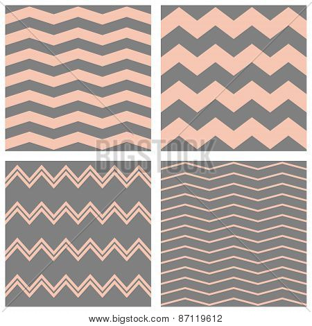 Tile vector pastel pattern set with grey and pink zig zag background