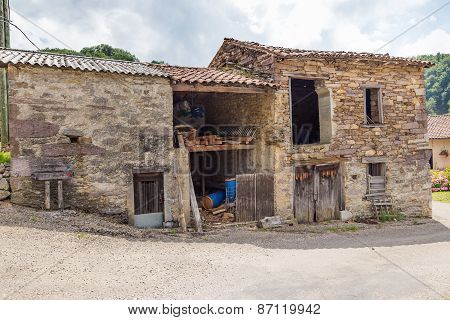 Old Beaten Cowshed In The South Of France