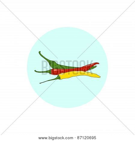 Icon red, green and yellow hot chili pepper