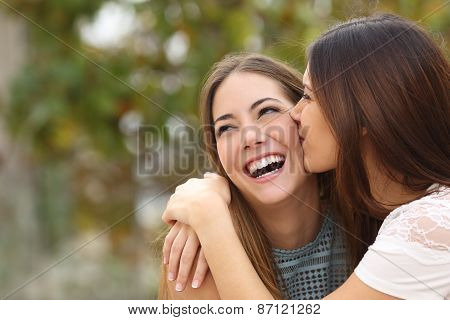 Two Funny Women Friends Laughing And Kissing