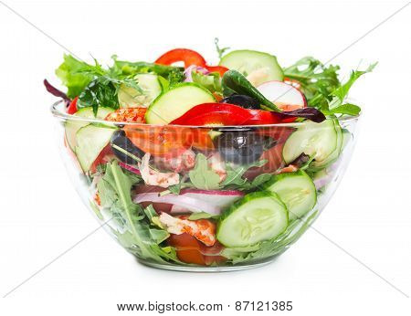 Salad With Fresh Vegetables, Olives And Shrimp Isolated On White Background
