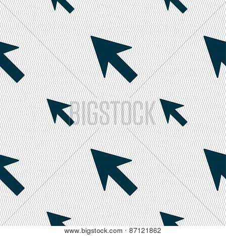 Cursor, Arrow Icon Sign. Seamless Pattern With Geometric Texture. Vector