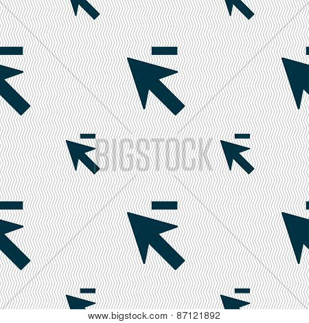 Cursor, Arrow Minus Icon Sign. Seamless Pattern With Geometric Texture. Vector