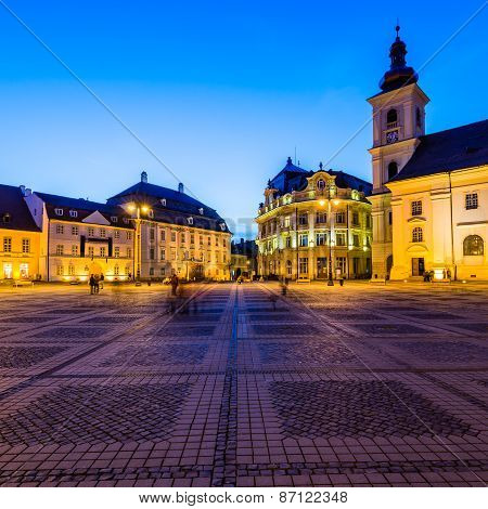 Large Square In Sibiu At Night