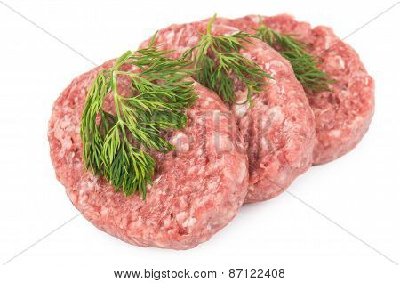 Raw Meatballs Of Ground Beef With Dill