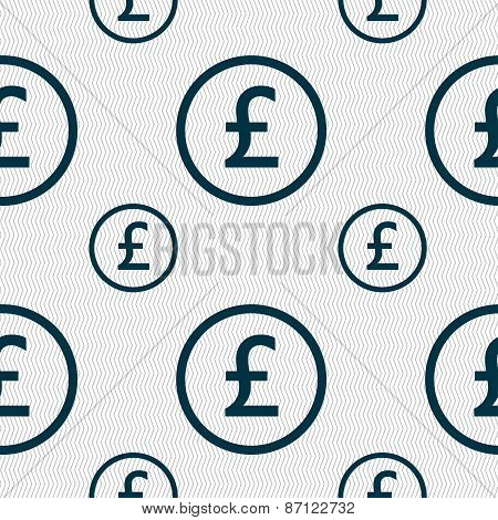 Pound Sterling Icon Sign. Seamless Pattern With Geometric Texture. Vector