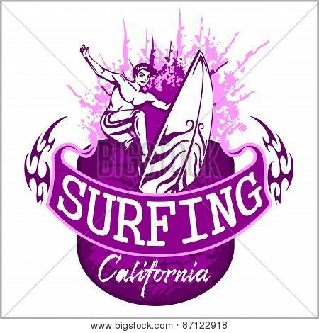 Surfing - vector label and elements