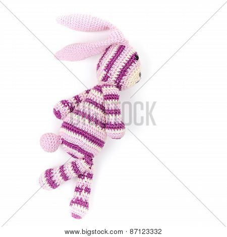 Knitted Rabbit Toy Is Running Fast, Closeup Photo