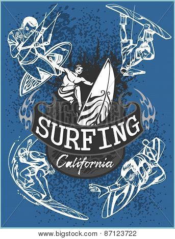Surfing - vector set label and elements