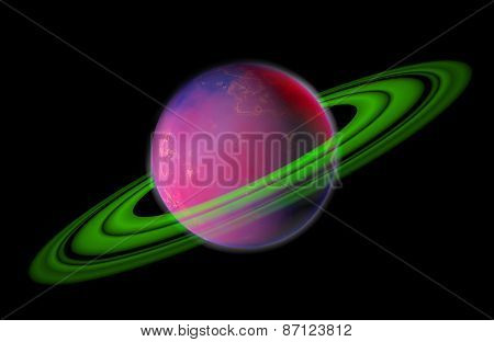 3D Planet With Rings Isolated On Black Background