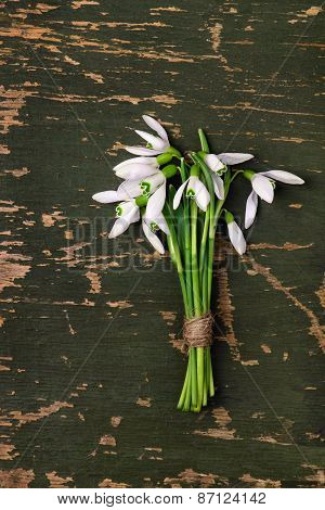 Snowdrop Flowers Bouquet  Wooden Background, Mother's Day