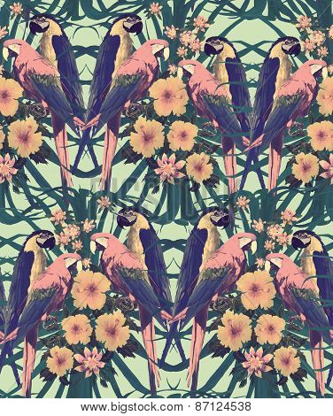 Vintage style seamless pattern with macaw parrots.