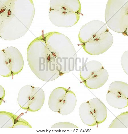 Watercolor seamless pattern with green sliced apples. Hand drawn design. Vector summer fruit illustr