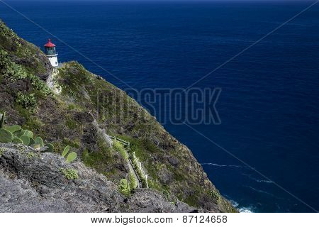 Makapuu Lighthouse On Ohau Island In Hawaii