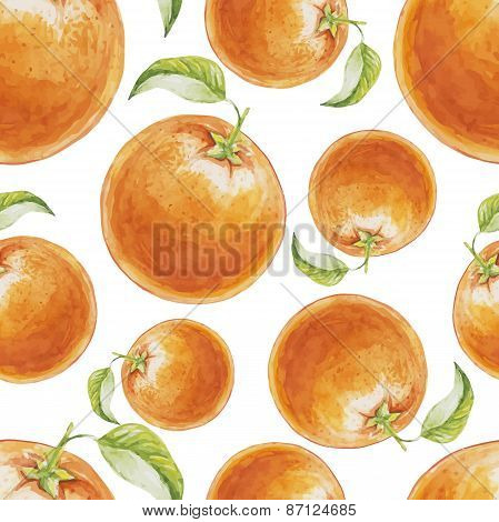 Watercolor seamless pattern of orange fruit. Vector illustration of citrus orange fruits. Eco food i