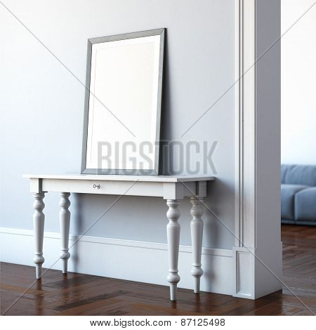 Interior with table and blank canvas. 3d rendering