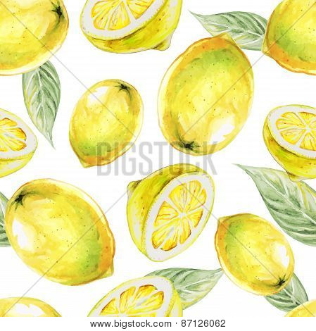 Watercolor seamless pattern of lemon fruit. Vector illustration of citrus fruits. Eco food illustrat