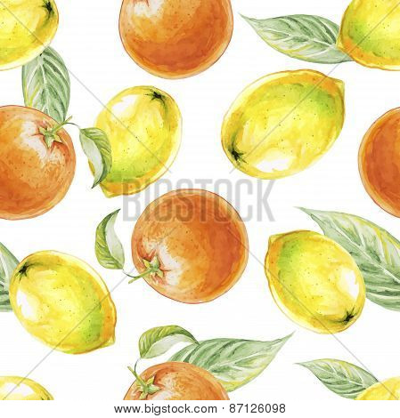 Watercolor seamless pattern of lemon and orange fruits. Vector illustration of citrus fruits. Eco fo