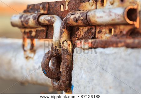Close Up Old And Rusty Metal Latch
