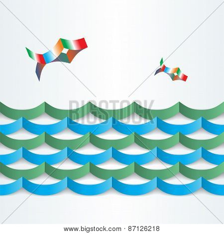 Abstract paper background. Fish floating on the waves. Vector