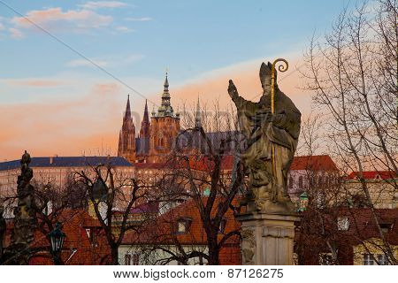 Statue Of A Blessing Saint On Charles Bridge