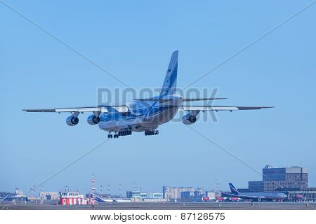 Landing Of The Big Freight Airliner.