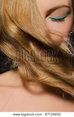 Portrait Of Blonde With Beautiful Wavy Hair
