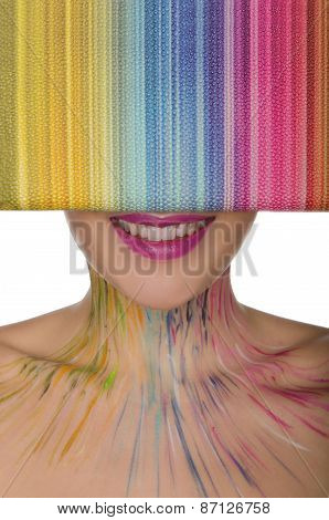 Smiling Woman With Multi-colored Handbag In Front