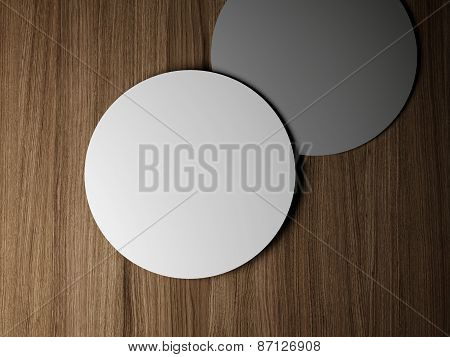 Two blank round cards