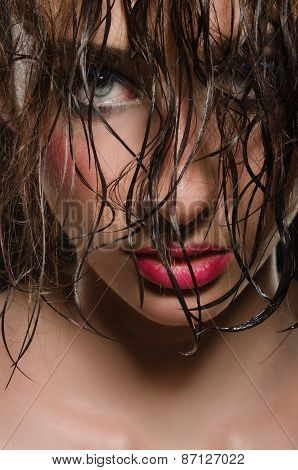 Portrait Of Woman With Beautiful Wet Hair