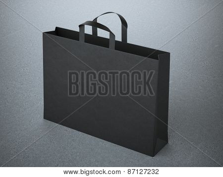 black paper bag with handles