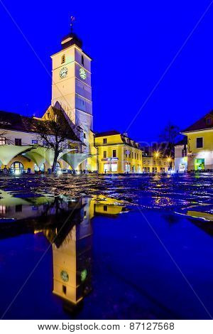 Council Tower In Sibiu At Night