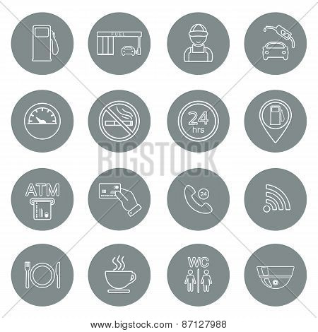 Line Gas Station Icons. Service Fuel Glyph Icons. Vector