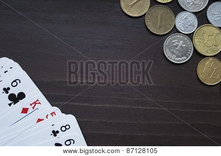 Coins and cards topview background