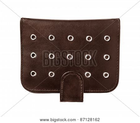 Brown Leather Wallet Isolated On White Background