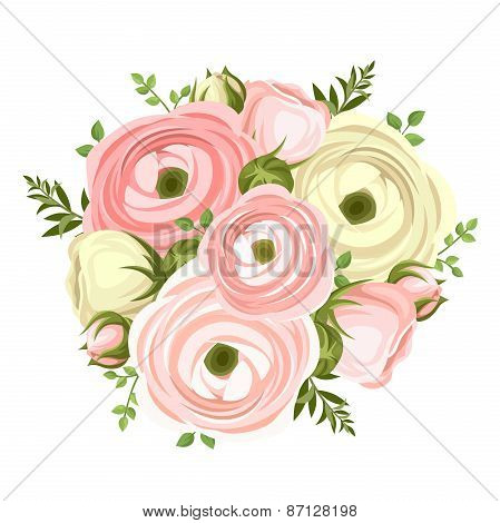 Bouquet of pink and white ranunculus flowers. Vector illustration.
