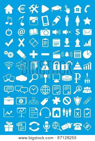 Blue webdesign flat icons set