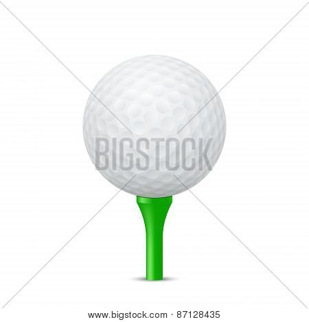 Golf Ball On A Green Tee. Vector Illustration.