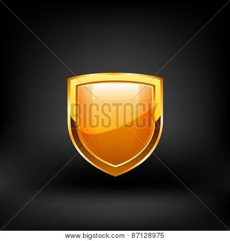Golden shield vector.
