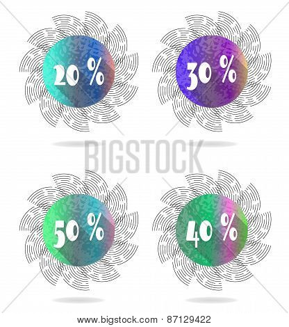 Set, collection, group of four isolated, sun, flat, colorful buttons, icons, signs, labels, stickers