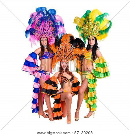 dancer team wearing carnival costumes dancing