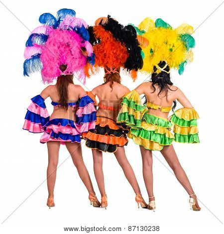 dancer team wearing carnival costumes dancing, rear view