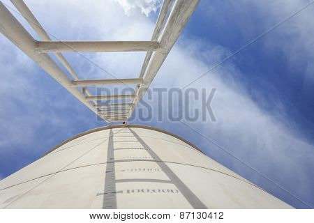 High Steel Ladder On Big Water Tank