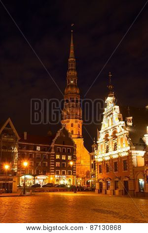 Illuminated Riga At Night